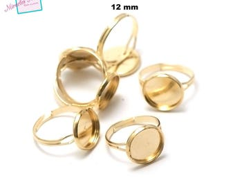 10 blank cabochon 12 mm, round ring gold