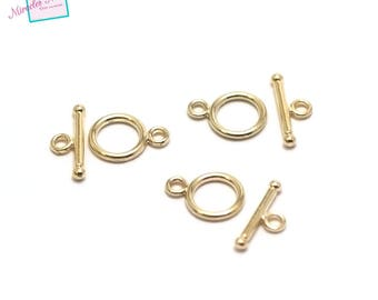 "set 10 clasps toogles ""simple 001"" 13 x 10 mm, gold"