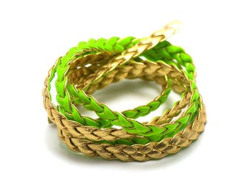 1 m cord strap braided 7 x 2 mm, faux leather, gold/lime green