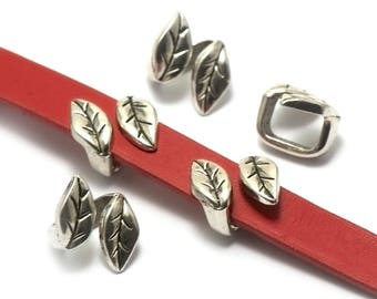 """6 beads women leather """"double leaf"""" 18x14x11mm, silver"""