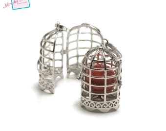 """1 pendant/Bell to Pearl 18 mm bola """"birdcage"""", silver, 010"""