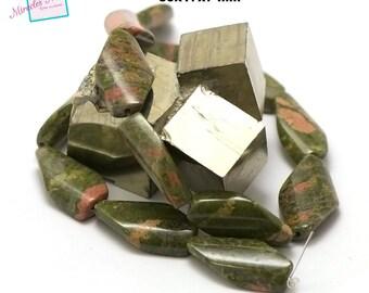 "strand 39 cm appx 13 Jasper unakite ""puck long wavy"", natural stone beads"