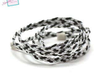 1 m strap braided faux leather 4 mm black 013