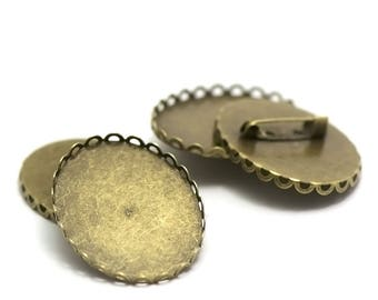 """2 supports cabochon brooches """"Oval 40 x 30 mm"""", bronze lace"""