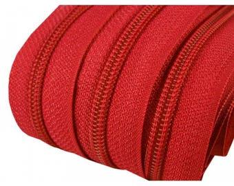 25 M of Red zipper mesh 5 mm spiral