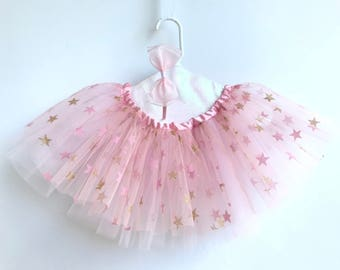 Girl star tutu. Ballet  tutu. Pink and gold tutu. Princess tutu. Birthday outfit. Party tutu. Halloween  costume.