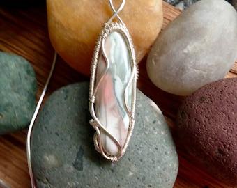 Handwoven Fine Silver Willow Creek Jasper Pendant