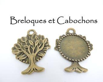 Bronze tree 30 mm bezel Pendant 1