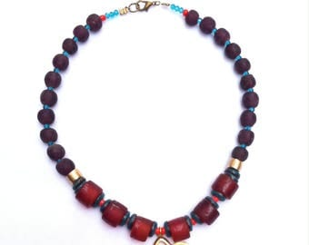 ethnic, brick and plum Choker, hint of coral and teal