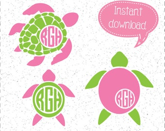 Sea Turtle SVG, Sea Turtle SVGs, Monogram Sea Turtle SVGs, Turtle SVG, SVGs, Cricut Cut File, Silhouette File