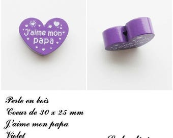 30 x 25 mm wooden bead, Pearl flat heart, I love my Daddy: Violet