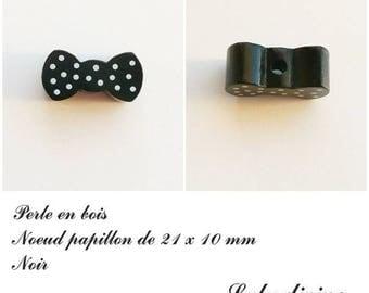 Wood 21 x 10 mm bead, Pearl flat bow tie: black
