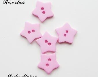 Set of 5 buttons Star 2-hole 17 mm: light pink