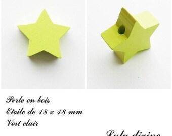 18 x 18 mm wooden bead, bead flat Star: light green