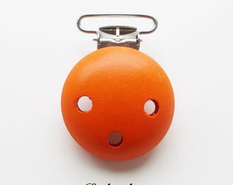 Clip / wooden pacifier Clip, from 25 mm: Orange