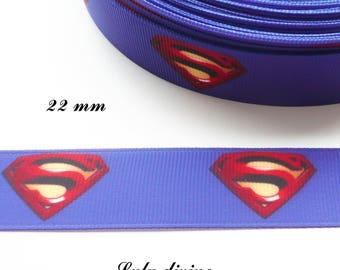 Logo Superman 22 mm blue grosgrain Ribbon sold by 50 cm