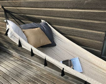 Design hammock FORMENTERA, very trendy for a chic and Bohemian to the inside and outside, 2, beige