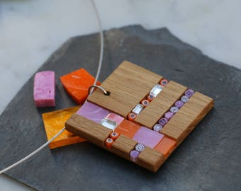 Square Oak wood and glass mosaic and millefiori pendant