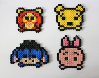 Winnie and friends in pearls hama (pixel art)