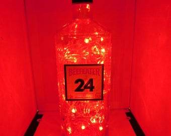 Beefeater color changing LED lamp (battery) Glass Liquor Bottle - LED Lighting with REMOTE!!