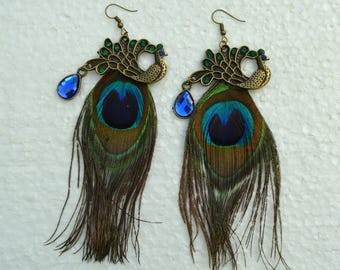 earrings with Peacock charm