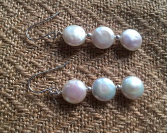 Coin Baroque Pearl Earrings