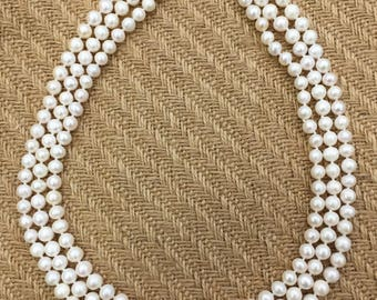 Three layer pearl necklace / sweater chain  7-8mm
