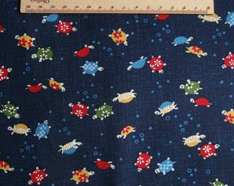 Traditional Japanese fabric Navy Blue turtle pattern