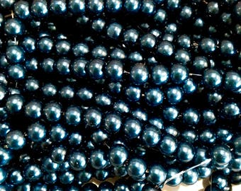 X 50 pearls 6MM Blue Navy