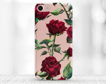Floral iPhone 7 Case Roses iPhone 7 Plus Case clear iPhone 6S Case iPhone 6S Plus red roses Galaxy S8 Case clear floral samsung s7 edge case