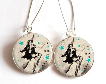 Earrings cabochon resin, witch on her broomstick, stars, pinup, year 60's