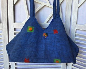 Purse blue geometric fabric