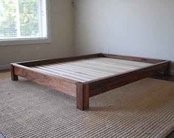 low profile platform bed simple bed frame solid hardwood. Black Bedroom Furniture Sets. Home Design Ideas