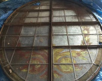 Rare oval framed vintage stained glass