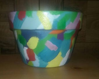 """Medium 5"""" (approx) Hand Painted Terra Cotta Pot with Multi Colors"""