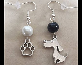 "Mismatched earrings ""small dog and his imprint"""