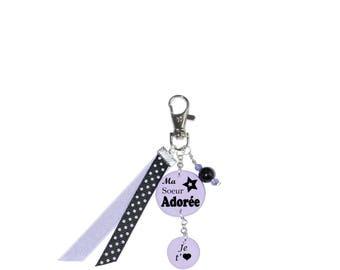 "Bag charm ""My sister"" Purple"