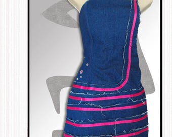 """Spiral"" jean: jean short strapless dress"