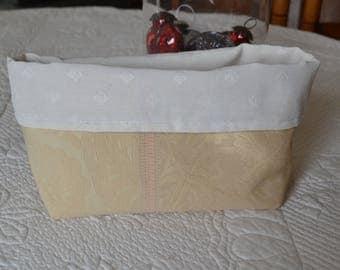 Orange beige damask reversible pouch