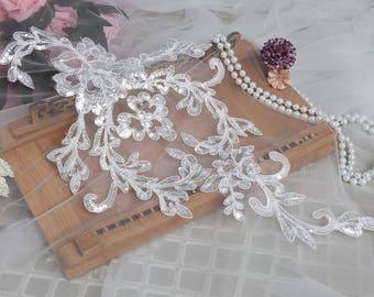 Sequins Alencon Lace Appliques Off-white Venice Venise Appliques Embroidered Lace Appliques Wedding Dress Patches Bridal Headpiece LL108