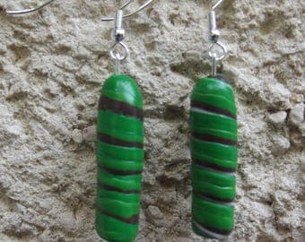 Earrings marbled Brown and green swirls