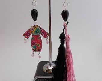 """Earrings """"Sundry Molds""""-Japan-Fringe pink-black"""