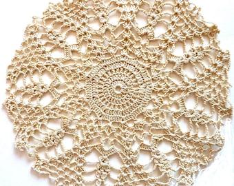 Branch - ecru crochet cotton doily