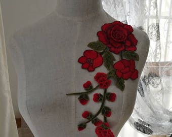 rose patch flower patch  flower erbroidered patch iron on patches iron on patch sew on-PH7