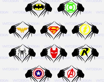 Superheroes symbols black and white dresses