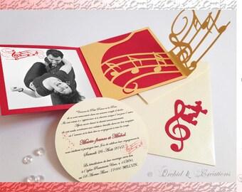 Music, Rockabilly, way CD - wedding Pocket invitation