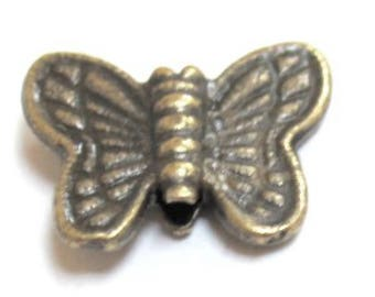 50 pieces Bronze Tone Butterfly Alloy Spacer Beads - A0566