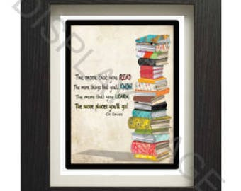 Dr. Seuss Reading Quote Kids Room Wall Art Printable