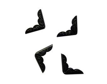 Set of 4 corners - etched - metal black