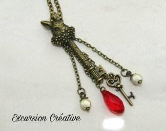 """Necklace """"Alice in Wonderland of"""" rabbit necklace bronze metal"""